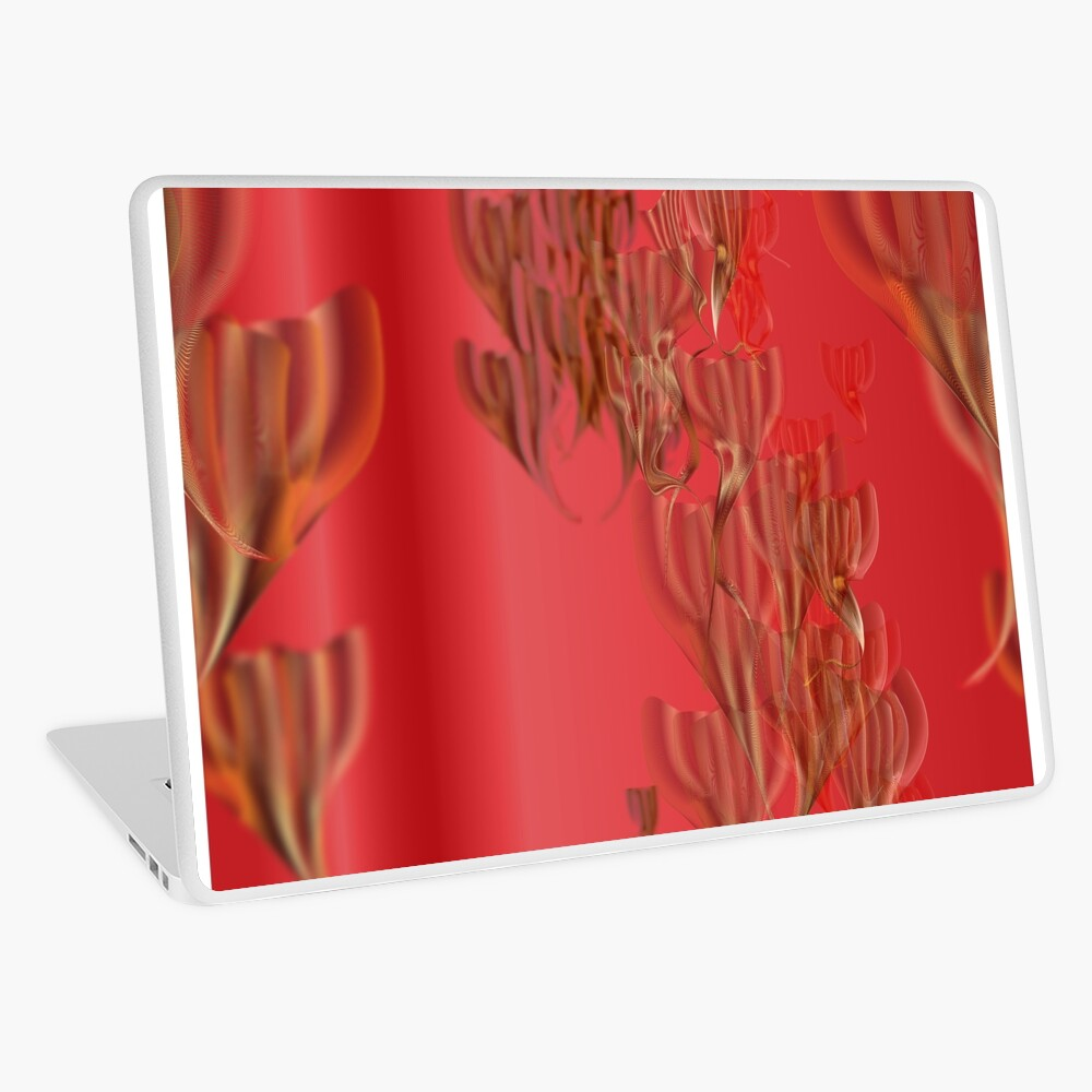 Red molten gold jellyfish tulips Laptop Skin