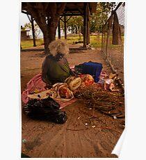 West Arnhem Land - Rosalin weaving a basket Poster