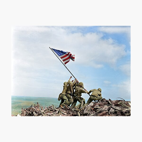 Raising the Flag on Iwo Jima - Colorized Photographic Print