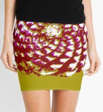 pine cone in olive green, purple and burgandy Mini Skirt