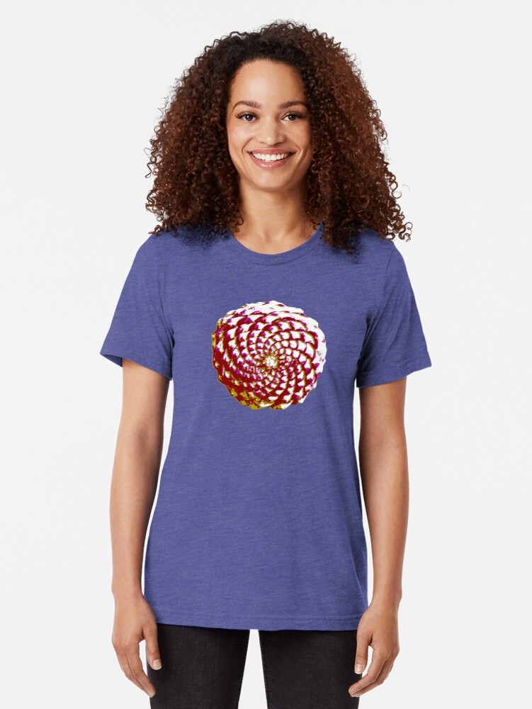 Alternate view of pine cone in olive green, purple and burgandy Tri-blend T-Shirt