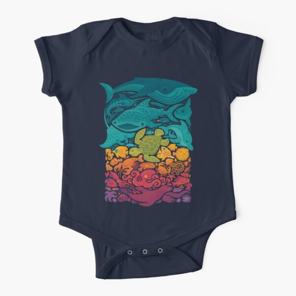 Aquatic Spectrum Short Sleeve Baby One-Piece
