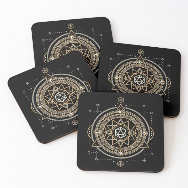 Polyhedral D20 Dice Sacred Symbol of the Occultist Coasters (Set of 4)