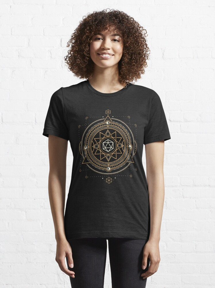Alternate view of Polyhedral D20 Dice Sacred Symbol of the Occultist Essential T-Shirt