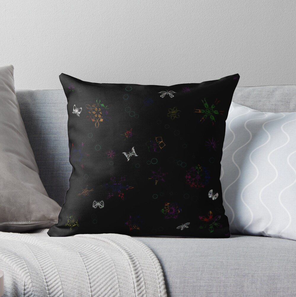 Butterflies and SnowFlowers Throw Pillow