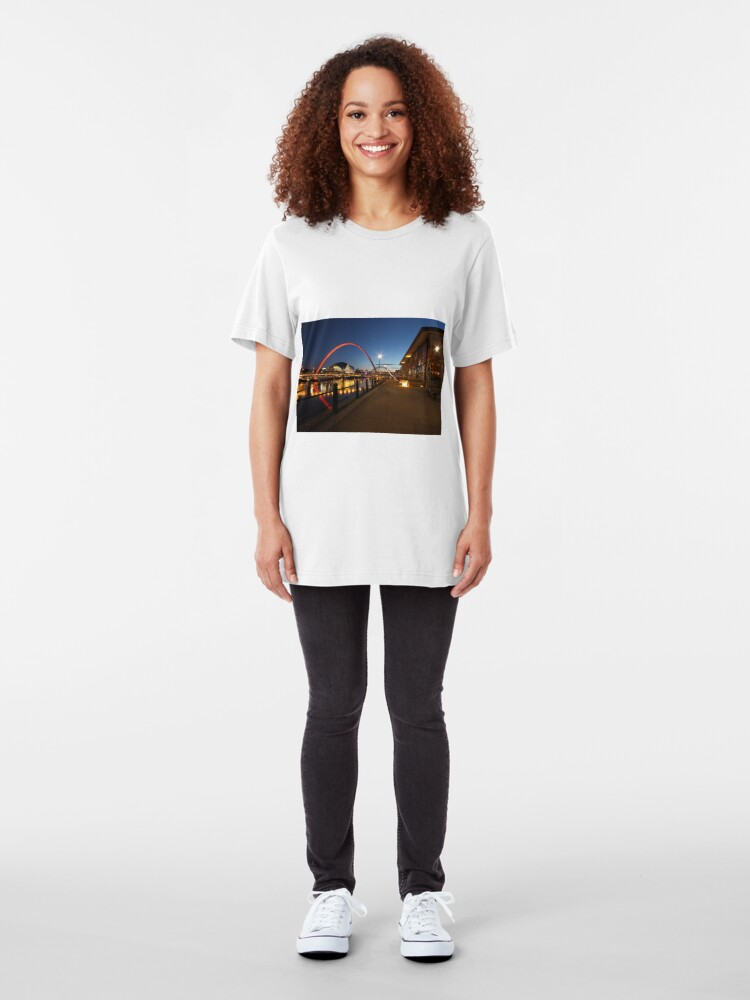 Alternate view of Newcastle-Gateshead, Bridges and Quayside at Dusk Slim Fit T-Shirt