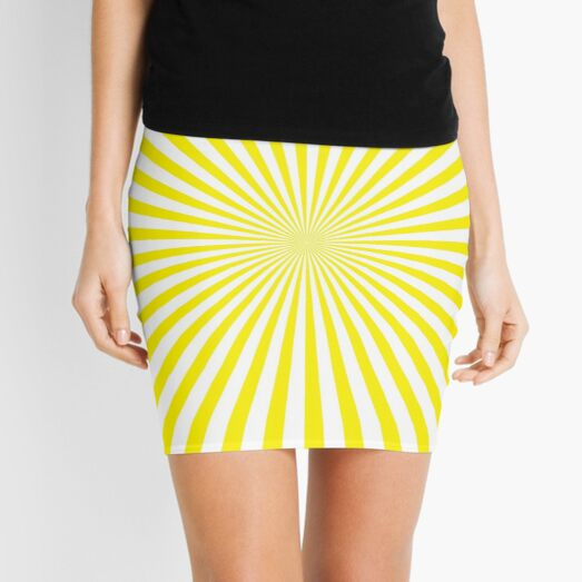#Sunburst, #pinwheel, #groovy, #abstract, illustration, radial, sunbeam, design, pattern, psychedelic, art Mini Skirt