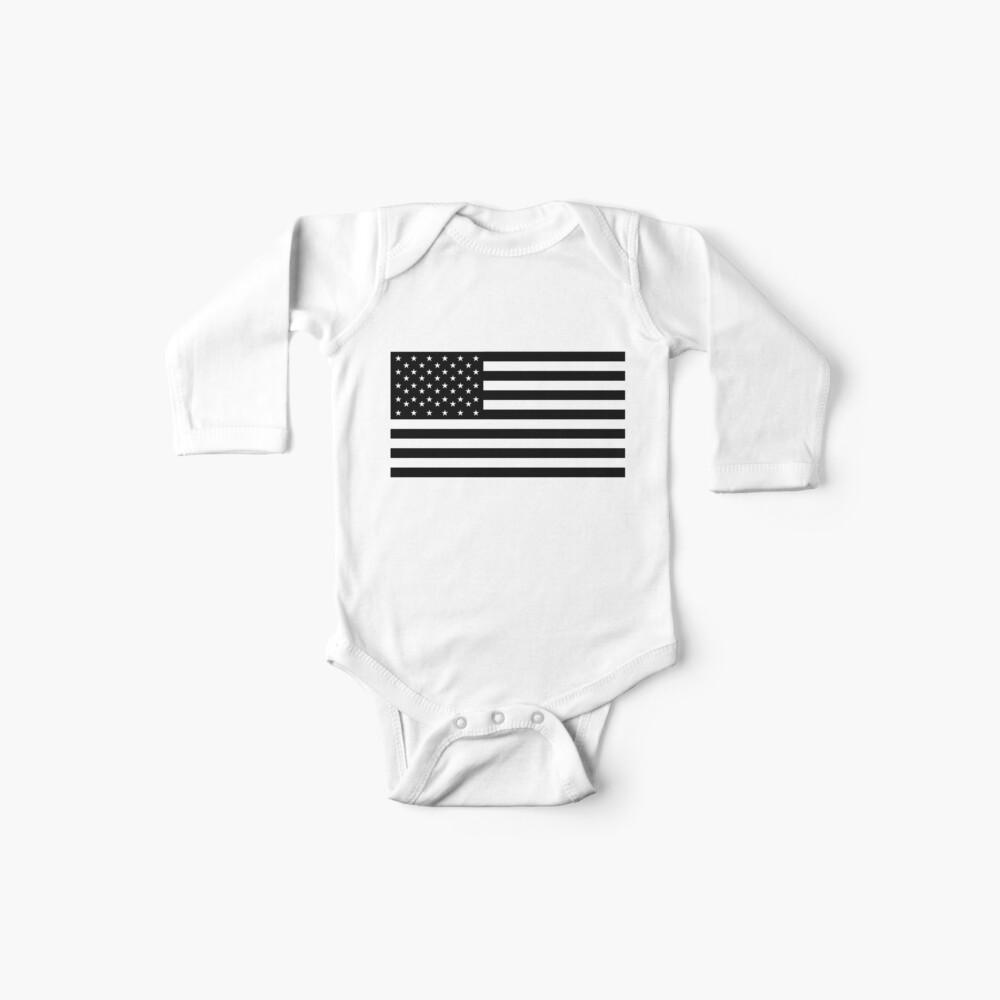 Bandera americana, ESTRELLAS Y RAYAS, Estados Unidos, América, negro sobre blanco. Body para bebé