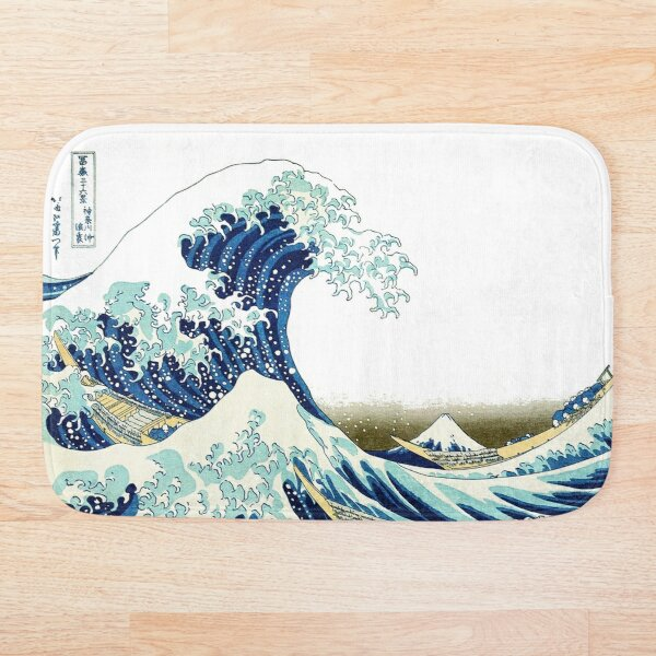 HOKUSAI. The Great Wave off Kanagawa, BRIGHTENED. Bath Mat