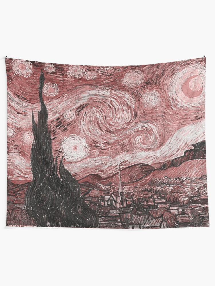 Alternate view of Pink Starry Night Tapestry