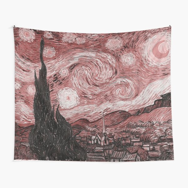 Pink Starry Night Tapestry