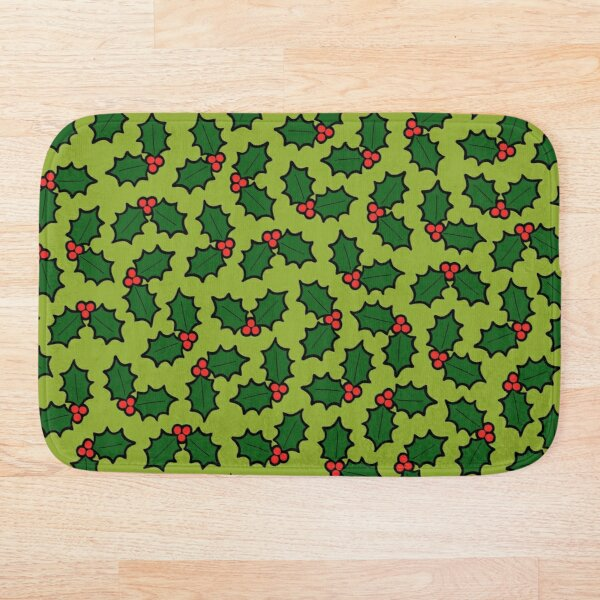 Holly Leaves and Berries Pattern in Light Green Bath Mat