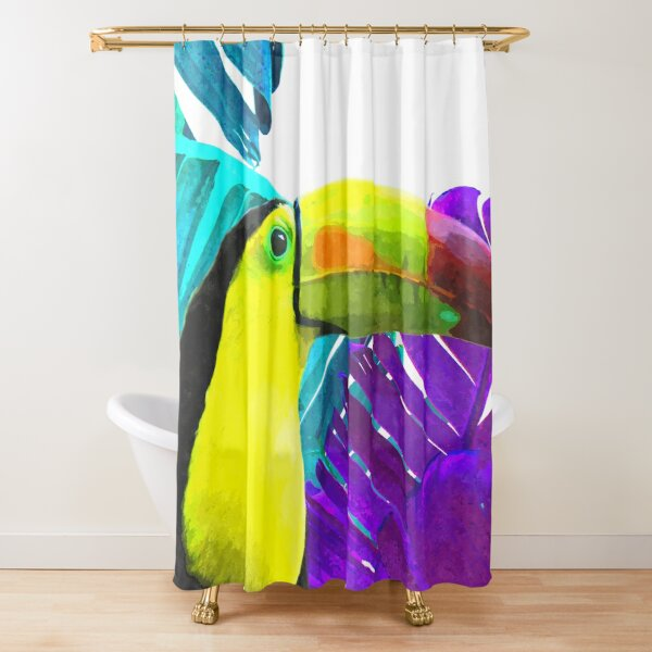 Toucan Palm Leaves Shower Curtain