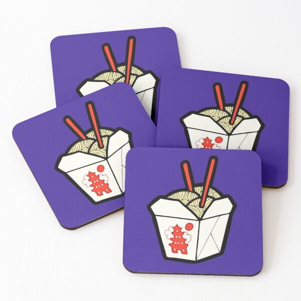 Take-Out Noodles Box Pattern Coasters (Set of 4)