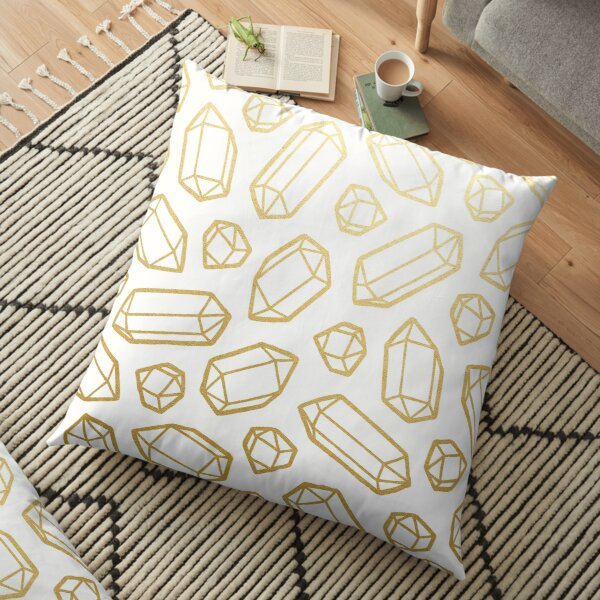 Gold and White Gemstone Pattern Floor Pillow