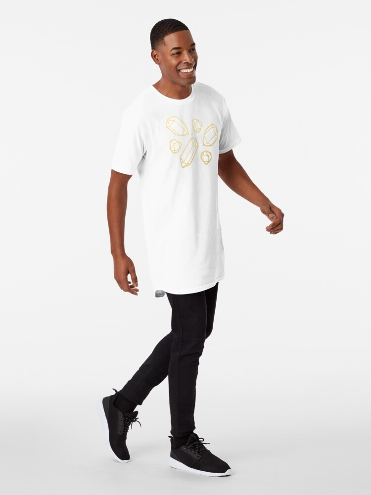 Alternate view of Gold and White Gemstone Pattern Long T-Shirt