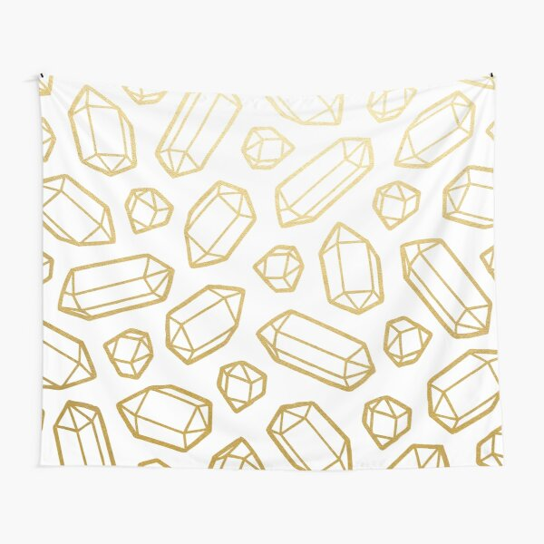 Gold and White Gemstone Pattern Tapestry