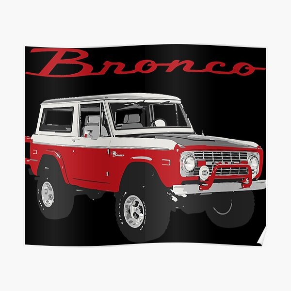 1975 Red Classic Ford Bronco Poster