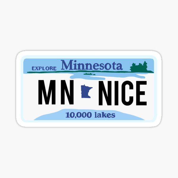mn nice minnesota license plate vintage sticker Sticker