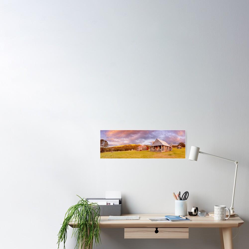 Coolamine Homestead Sunset, Kosciuszko National Park, New South Wales, Australia Poster