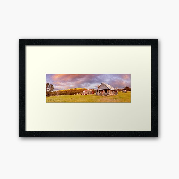 Coolamine Homestead Sunset, Kosciuszko National Park, New South Wales, Australia Framed Art Print