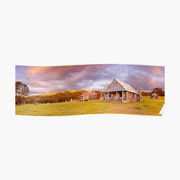 Coolamine Homestead Sunset, Kosciuszko National Park, New South Wales, Australia Poster