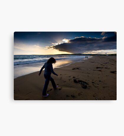 Sunset Walk On Garretstown Beach  Canvas Print