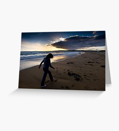 Sunset Walk On Garretstown Beach  Greeting Card