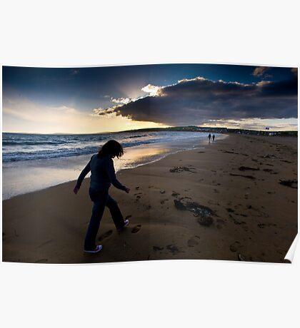 Sunset Walk On Garretstown Beach  Poster