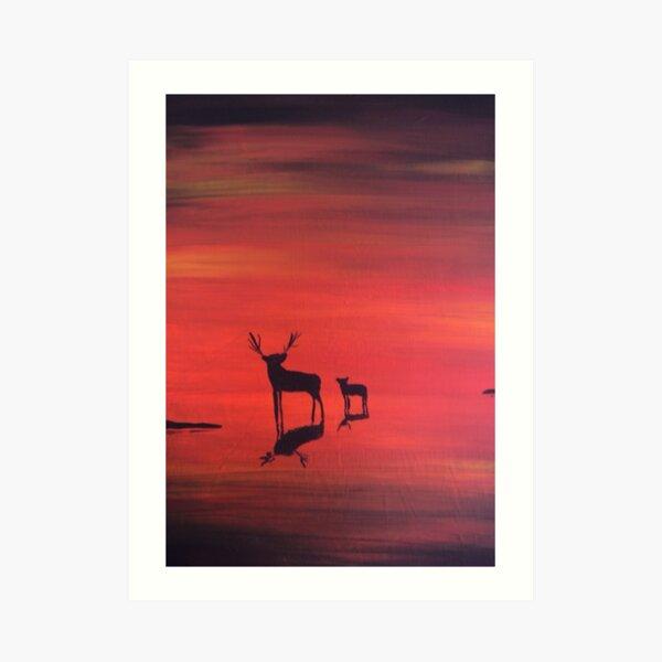 Sunset with wildlife Art Print