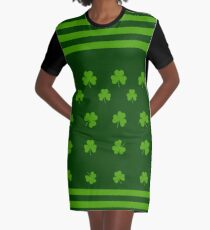 Grünes Kleeblatt und Streifen T-Shirt Kleid
