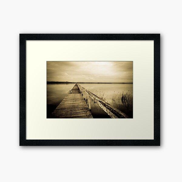 moody, mono jetty Framed Art Print