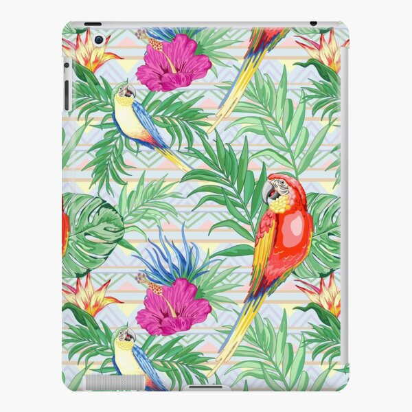 Macaws Parrots Exotic Birds on Tropical Flowers and Leaves iPad Snap Case