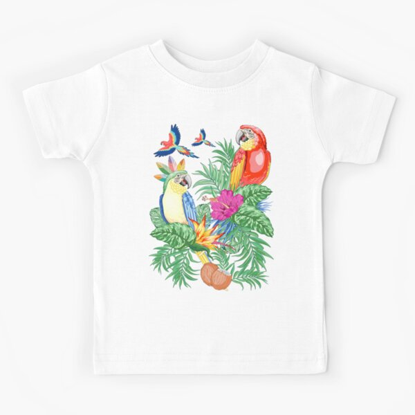 Macaws Parrots Exotic Birds on Tropical Flowers and Leaves Kids T-Shirt