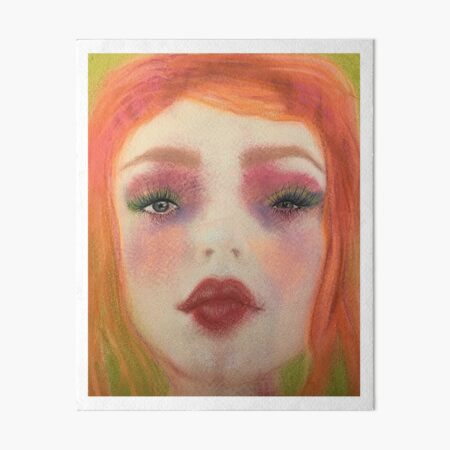 Redhead Big-Eyed Girl Pastel Boho Art Art Board Print