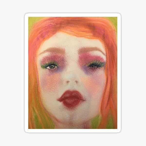 Redhead Big-Eyed Girl Pastel Boho Art Sticker