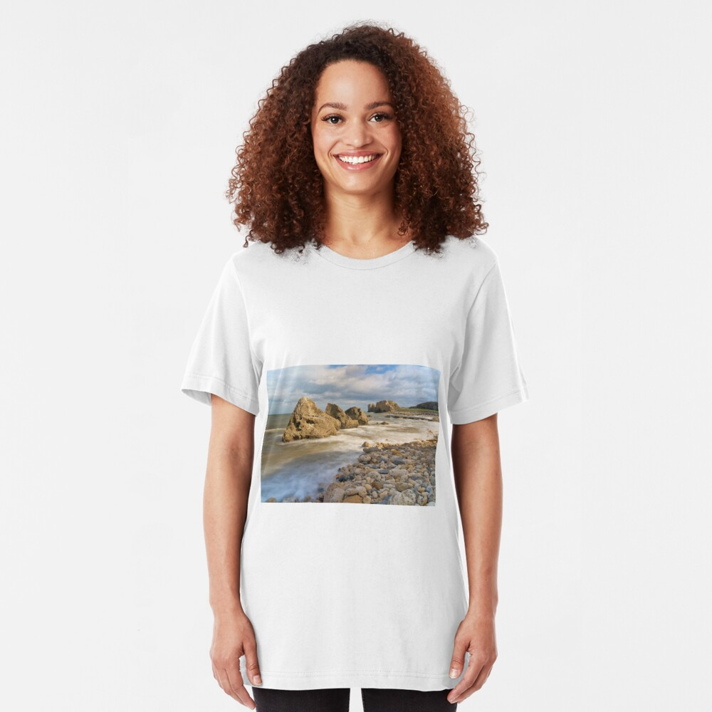 Incoming Tide at Trow Quarry Beach, South Shields, Tyne and Wear Slim Fit T-Shirt