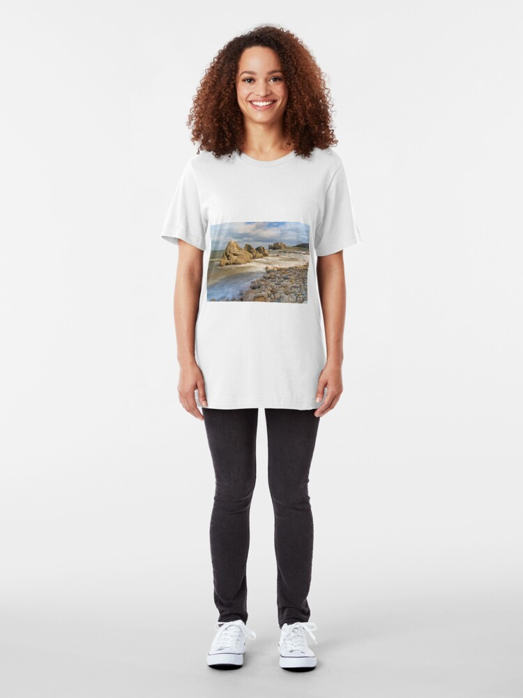 Alternate view of Incoming Tide at Trow Quarry Beach, South Shields, Tyne and Wear Slim Fit T-Shirt