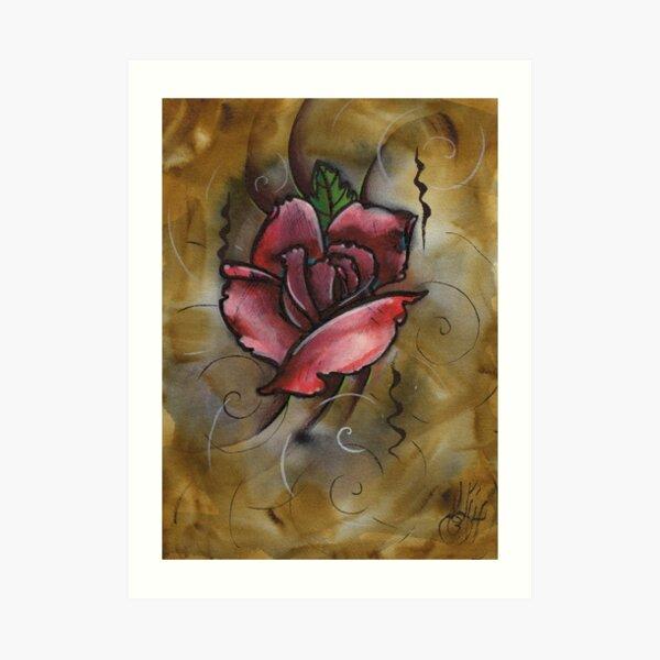 mixed media rose painting Art Print