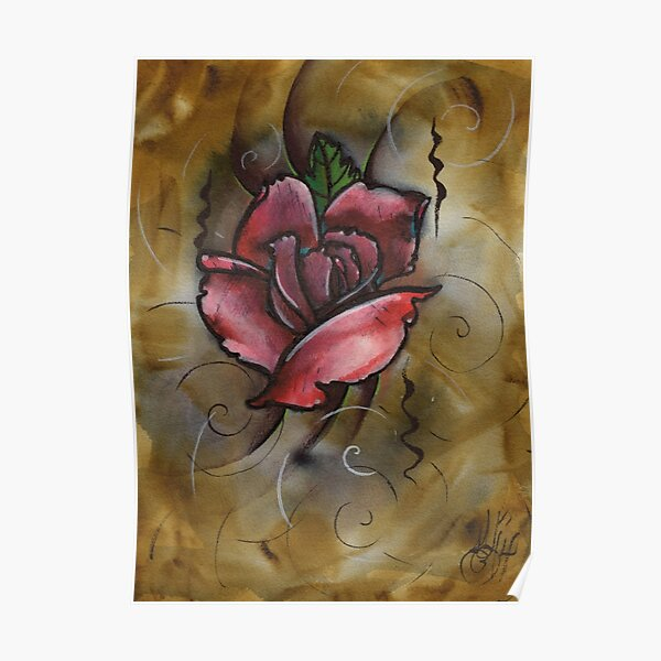 mixed media rose painting Poster