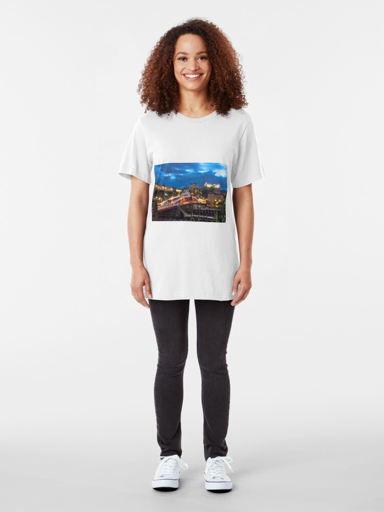 Alternate view of Swing Bridge and Castle Keep, Newcastle upon Tyne Slim Fit T-Shirt