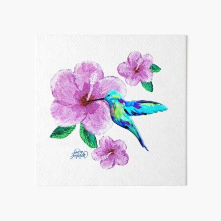 Hummingbird & Flowers Art Board Print