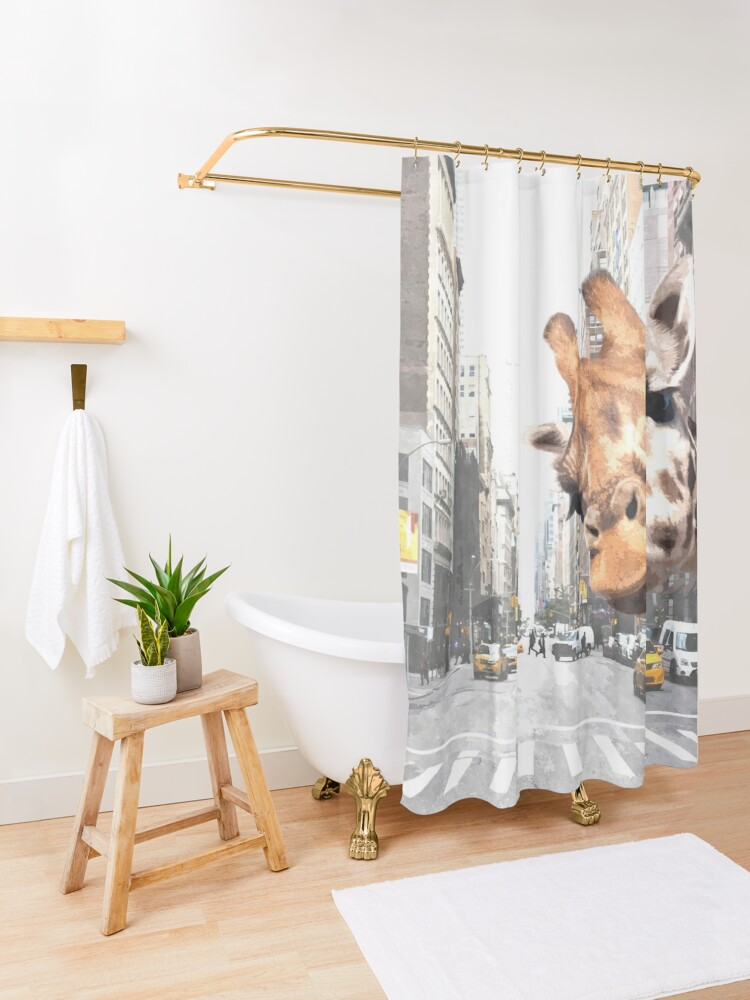 Alternate view of Selfie Giraffe in New York Shower Curtain