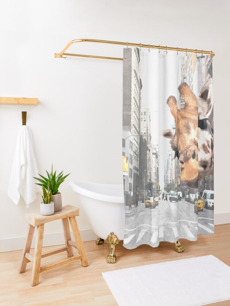 Alternate view of Selfie Giraffe in New York Shower Curtain
