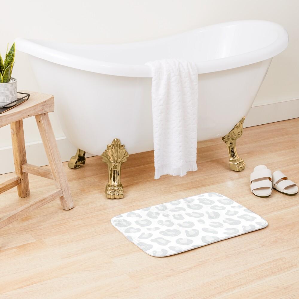 Leopard Print - Silver Gray and White  Bath Mat