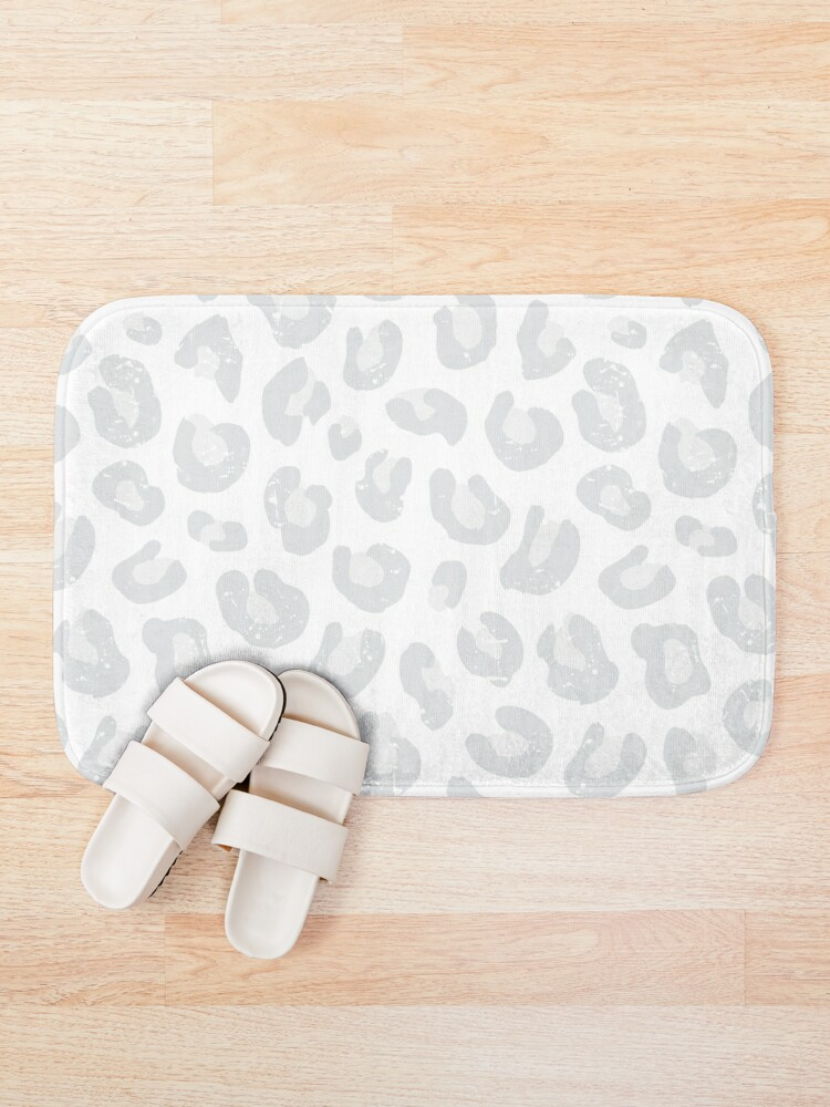 Alternate view of Leopard Print - Silver Gray and White  Bath Mat
