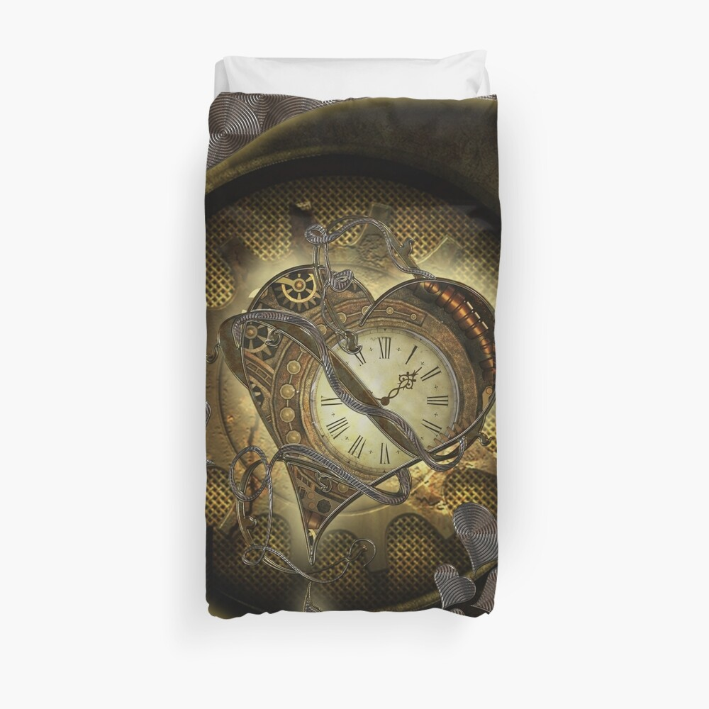 Wonderful elegant steampunk heart, beautiful clockwork Duvet Cover