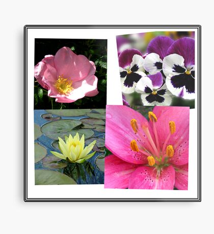 Summer Flowers Collage Metallbild