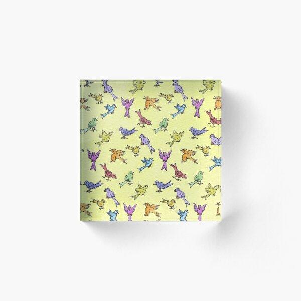 House Birds on Yellow Acrylic Block