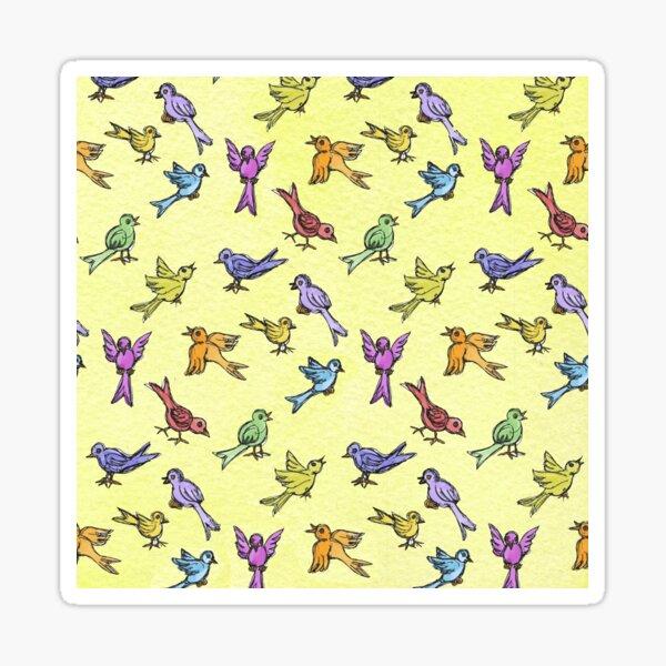 House Birds on Yellow Sticker